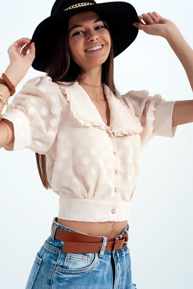 Beige polkadot blouse met slabbetjeskraag en versierde knopen