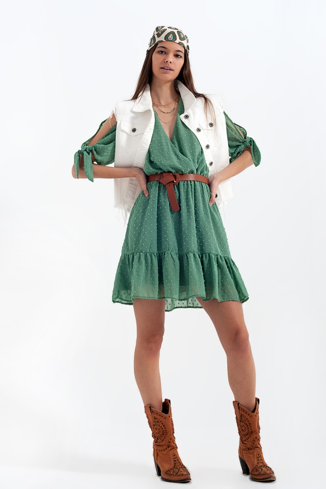 Mini-jurkje met bindceintuur in groen