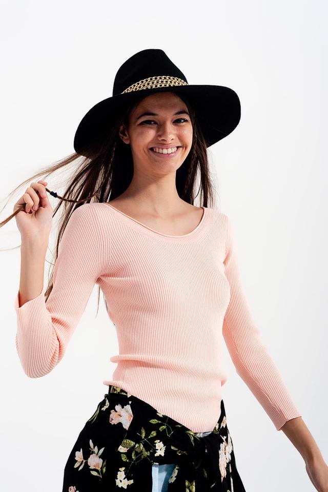 Gebreide trui met brede halslijn Roze
