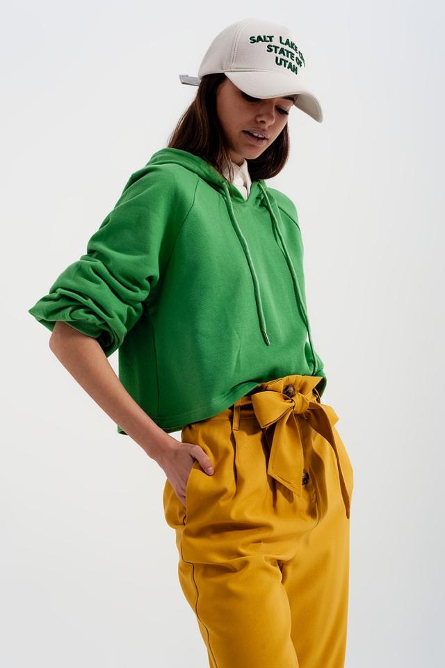 Cropped hoodie met V-hals in groen