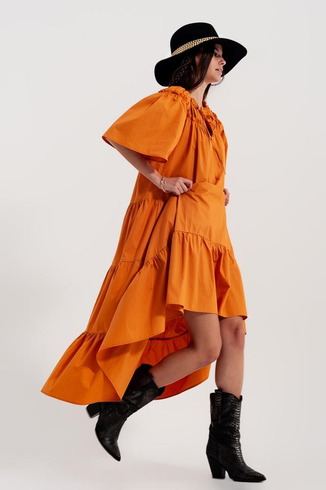 Katoenen poplin midi-jurk met aangerimpelde stroken in oranje
