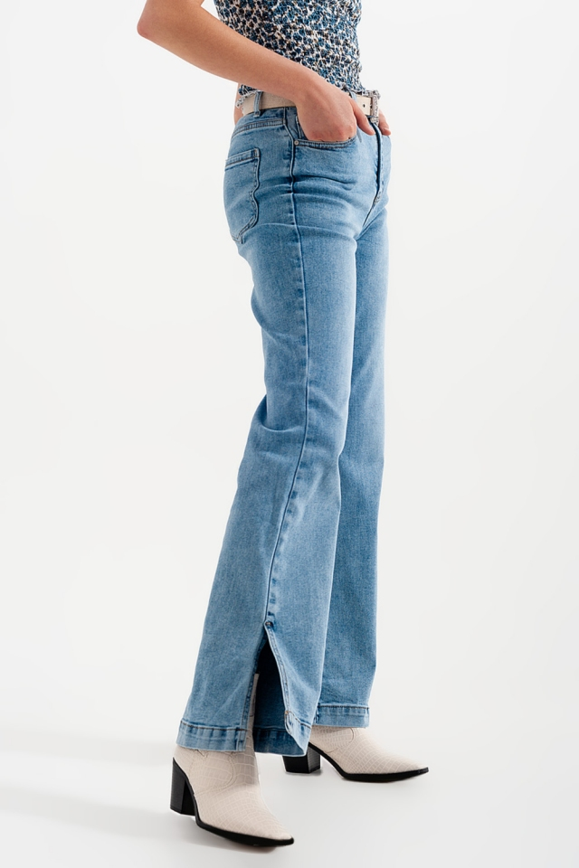 Flared jeans met hoge taille en zijsplitten blauw gewassen