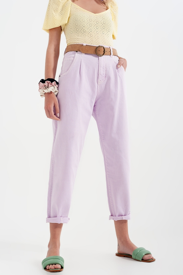 mom jeans van met hoge taille en plooien voor in lila