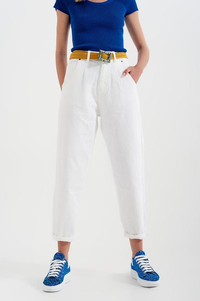 Mom jeans van met hoge taille en plooien voor in Witte