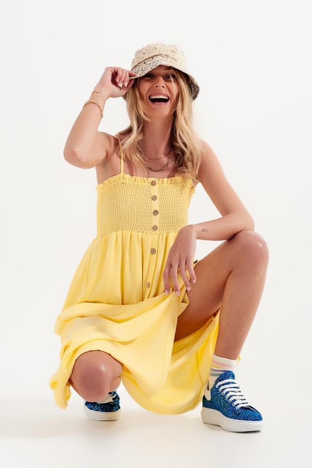 Geel Lange jurk met aangerimpelde buste met zakken