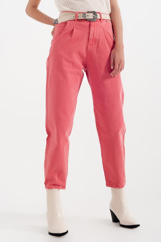 Mom jeans van met hoge taille en plooien voor in roze