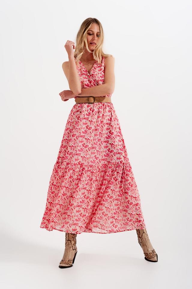Mouwloze lange jurk met fijne bloemenprint in roze
