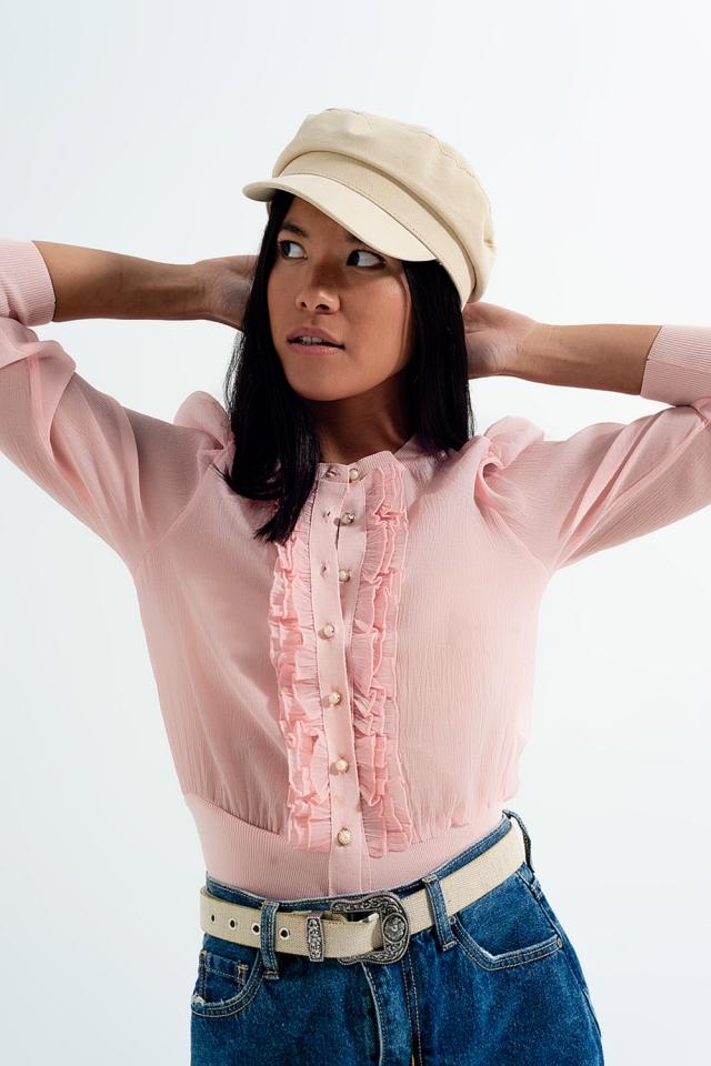Vest van chiffon met ruches aan de voorkant in roze