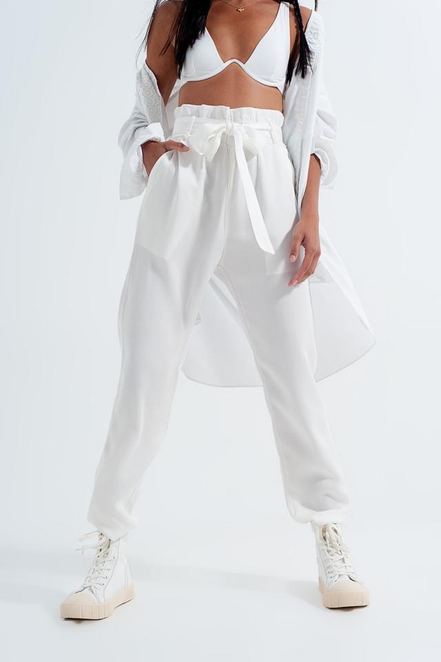 Broek met gestrikte taille in wit