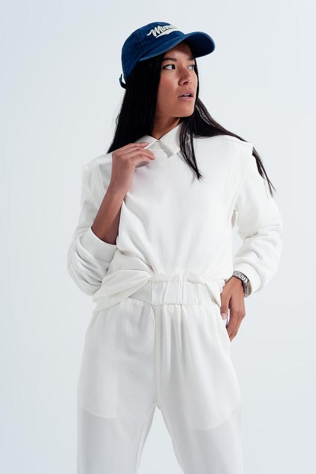 Sweatshirt met details op de schouders in wit