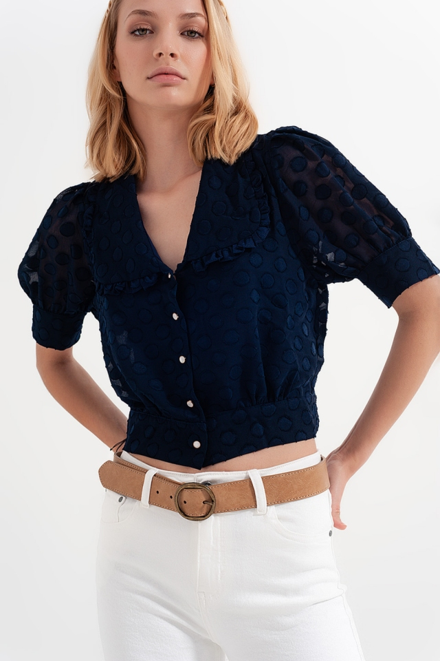 Maineblauw polkadot blouse met slabbetjeskraag en versierde knopen