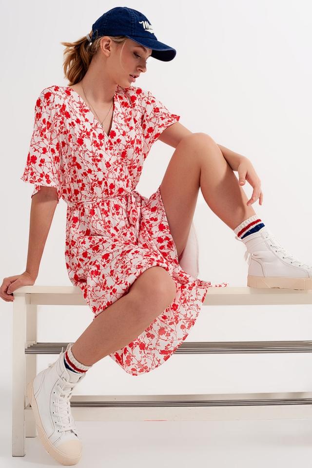 Kimono midi jurk met overslag en rood bloemenprint