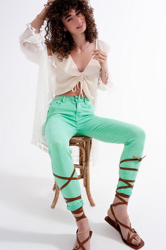 Pistache skinny jeans met hoge taille