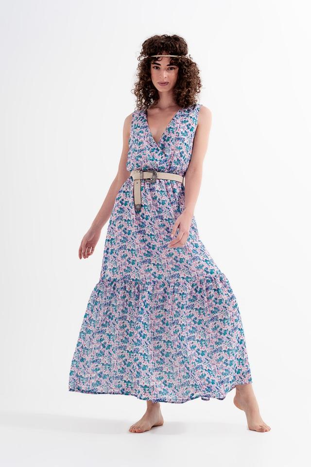 Mouwloze lange jurk met fijne bloemenprint in groen