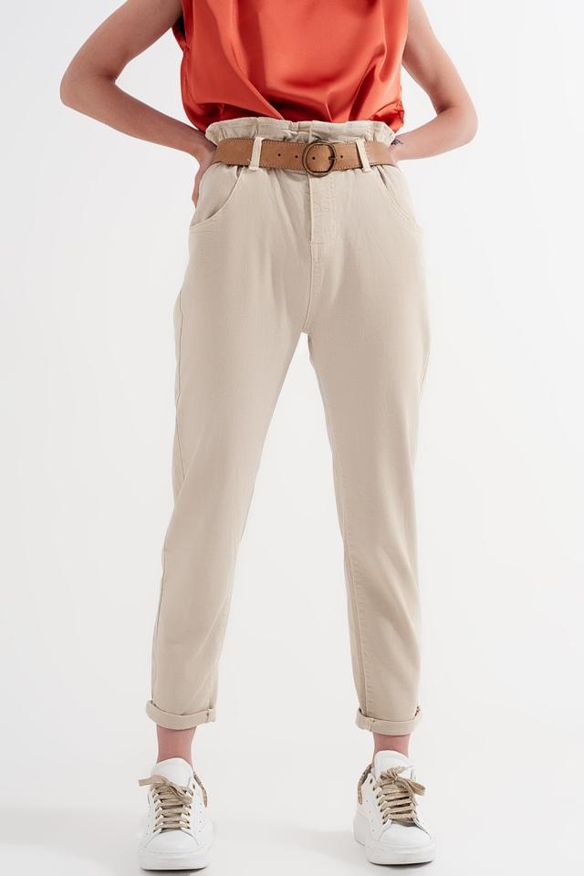 Mom jeans met elastische taille met plooirand in beige