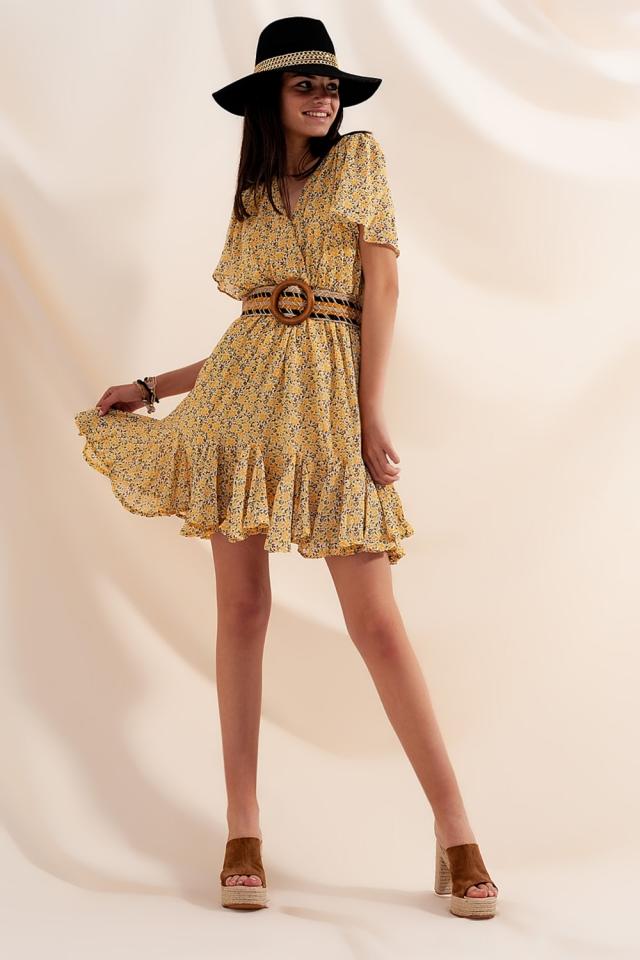 Gekruiste mini jurk met gele bloemen
