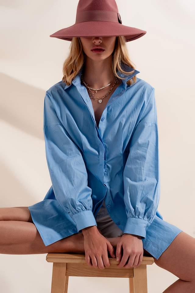 Popeline shirt lange mouw in blauw