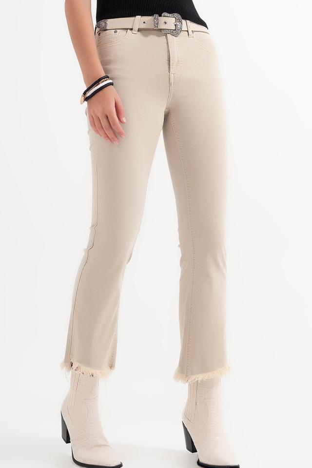 Straight broek in wit met brede enkels