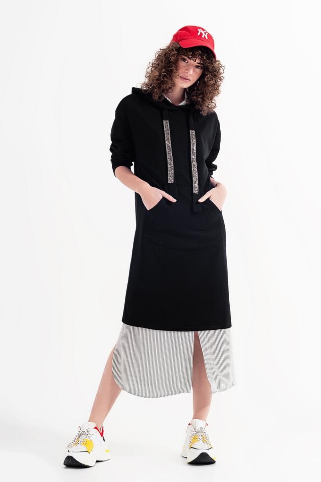Hoodie-jurk in zwart