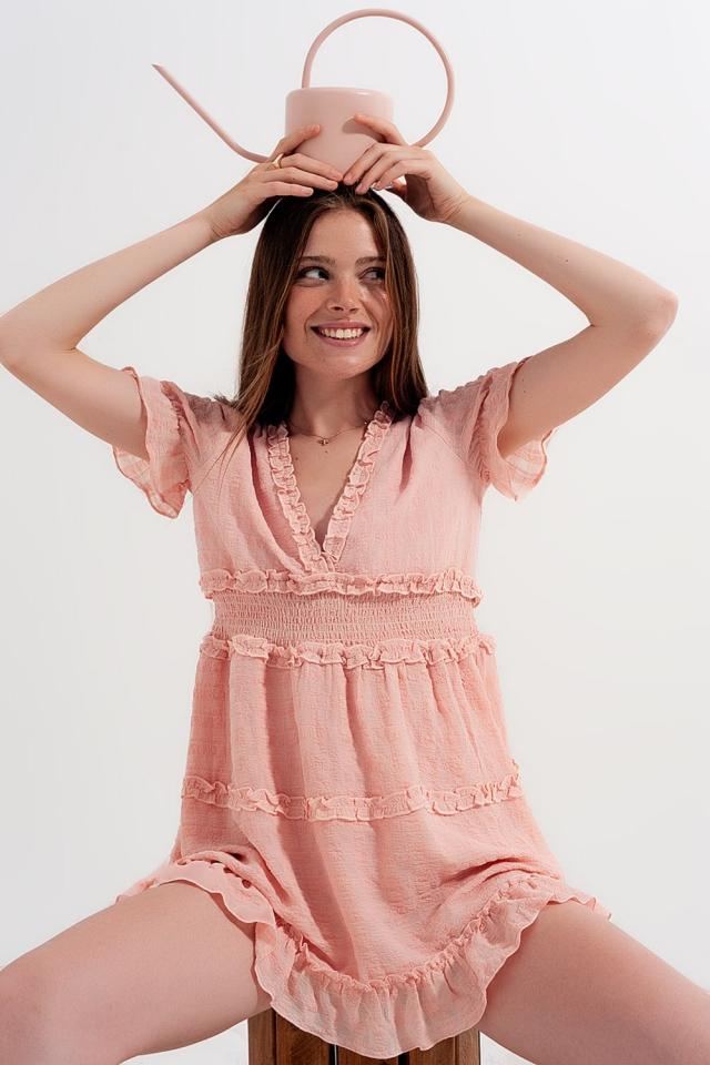 Nette jurk met gesmokte taille in lichtroze
