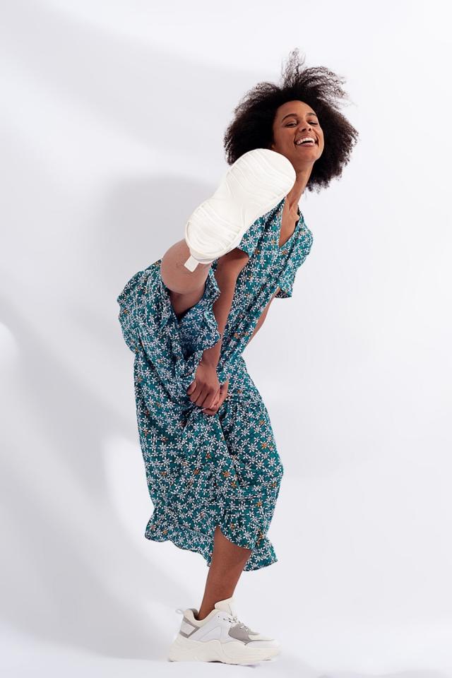 Midi jurk met stroken in gemengde fijne bloemenprint groen