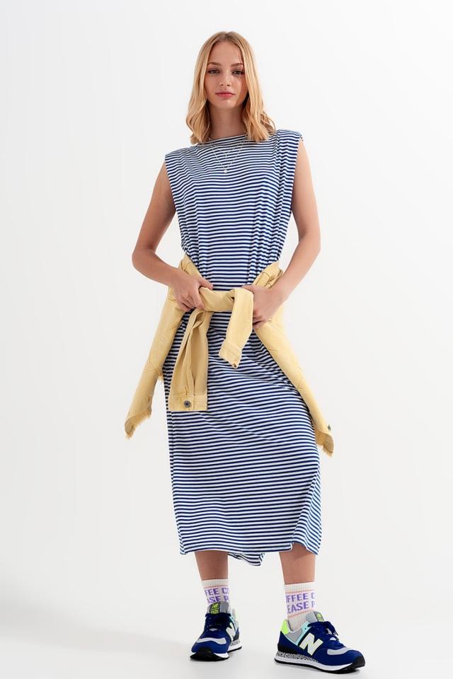 Minimalistische jersey jurk met strepen in blauw
