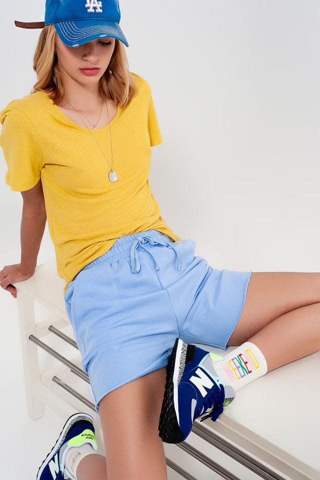 Kortere smalle short van jersey in blauw