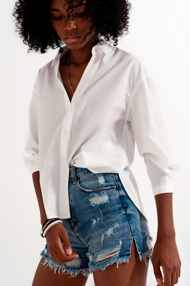 Overhemd met reverskraag van in wit