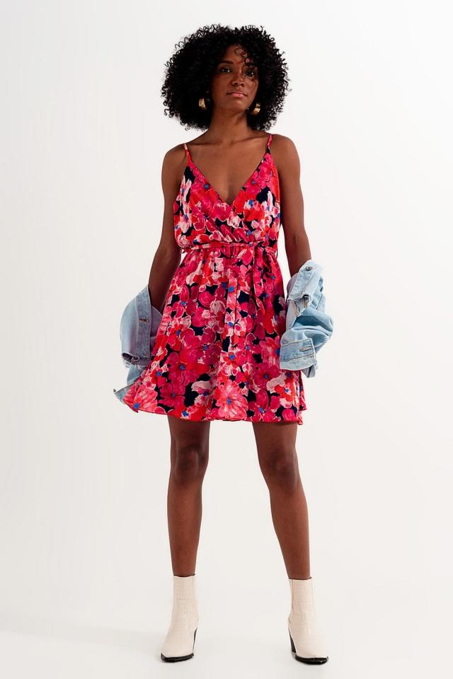 Hot pink kort jurkje met bloemenprint en bandjes