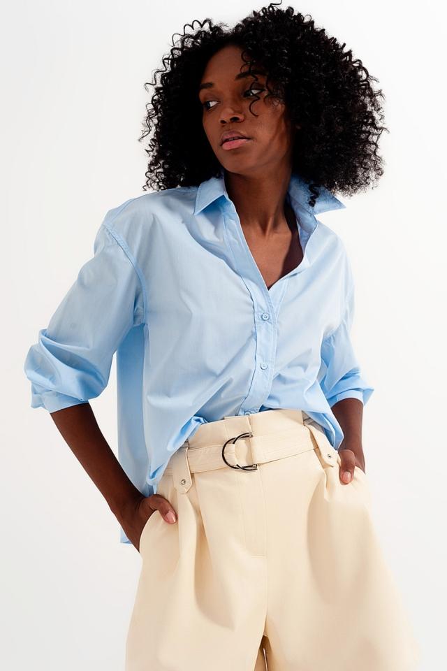 Overhemd met reverskraag van in blauw